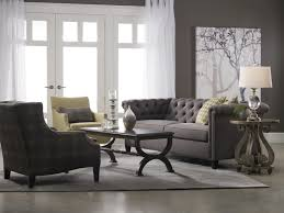 Grey Leather Tufted Sofa by Furniture Gray Tufted Loveseat With Smooth Cushions And Rustic