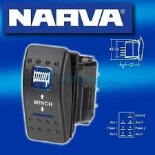 narva winch in out momentary rock switch dash mount 12v car blue