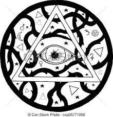 all seeing eye pyramid symbol in tattoo engraving design