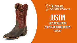 justin boots men u0027s silver collection chocolate buffalo boots