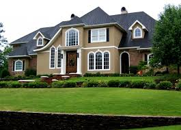 exterior cream exterior house paint with white line and black