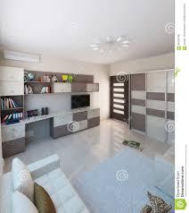 children room interior design 3d render stock illustration