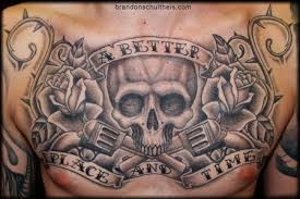 chest part chest tattoos for skull revolver
