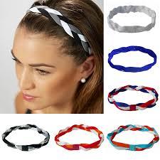 non slip headbands softball running sports braided headbands sweat silicone non slip