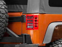 rugged ridge elite tail light guards rugged ridge wrangler elite tail light guards red 11226 06 07 18
