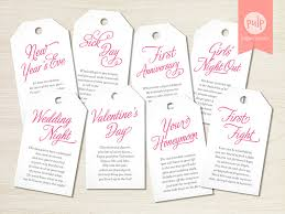 bridal gifts printed item tags with poems shower or