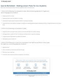 quiz u0026 worksheet making lesson plans for ell students study com