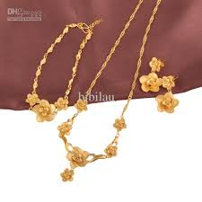 gold necklace bracelet earrings set images 2018 158snew arrival bridal flower wedding jewelry set 24k for jpg