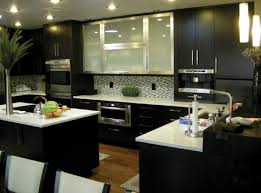 backsplash ideas for dark cabinets and light countertops dark espresso cabinets kitchens with black white mosaic glass tile