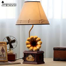 aliexpress com buy iminovo gramophone lamp stepless dimming home aliexpress com buy iminovo gramophone lamp stepless dimming home decor table lights for bedroom led reading lamps vintage music nightlight from reliable