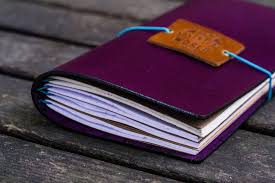 travelers notebook images Handmade traveler 39 s notebook leather cover purple galen leather jpg
