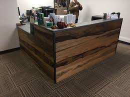 Black Reception Desk Custom Black Limba And Distressed Steel Reception Desk By Cooper