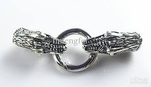 dragon wrap bracelet images Antique silver dragon leather cord bracelet end cap with spring jpg