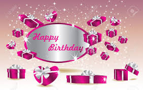 purple birthday card with gifts royalty free cliparts vectors