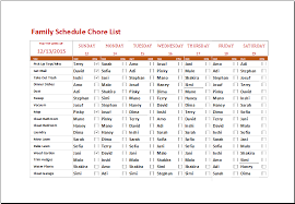 excel family schedule chore list template document templates