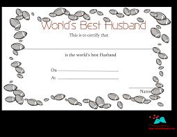 free printable world u0027s best husband certificates