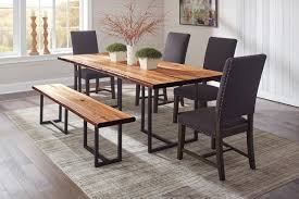 scott living live edge dining table chairs set with bench dining table chairs set with bench 107771 grey 1