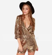 sleeve sequin jumpsuit 2018 plus size tropical gold sequins crossed bodysuit