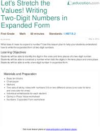 value of a digit worksheet let s stretch the values writing two digit numbers in expanded