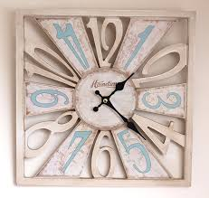 wall clock chic u0027n u0027 shabby distressed style square wooden u0027cut out