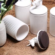 compare prices on white ceramic canisters online shopping buy low 1pcs keyama white animals ceramic food storage jars coffee spice storage canisters kitchen decorative storage jars