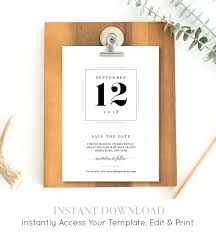 digital save the date template save the date template modern wedding card printable