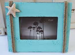 themed frames blue picture frame with nautical rope starfish cottage