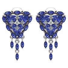 tanzanite earrings trillion tanzanite diamond flower halo earrings by juliette wooten