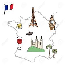 cartoon wine and cheese france landmarks map paris lyon cannes strasbourg cheese