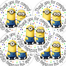 Minion Birthday Decorations 20 2 Inch Round Despicable Me Birthday Sticker Labels By Bafoodle