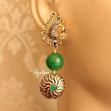 peacock earrings ethnic peacock earrings green gemstone gold tone earrings online