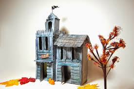 Cardboard House Sewing Belly Buttons Boutique Halloween Cardboard Haunted House