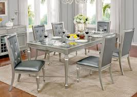 Silver Dining Table And Chairs Silver Finish Dining Room Furniture