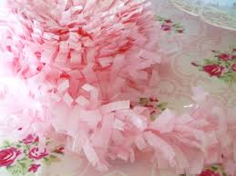 pink garland festooning tissue garland