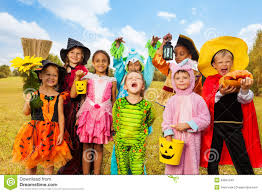 happy excited kids in halloween costumes stock photo image 43981342