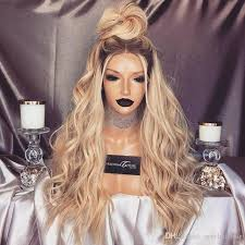 blonde hair with dark roots long blonde ombre long body wave synthetic lace front wigs with