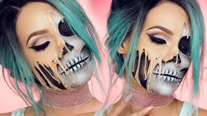 halloween makeup tutorial skeleton face melting over your skull halloween makeup tutorial buzzfeed
