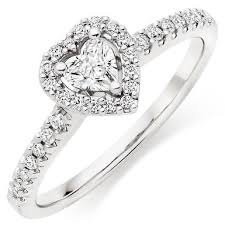 diamond heart ring 18ct white gold diamond heart ring 0011844 beaverbrooks the