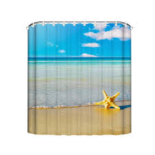 Tropical Beach Shower Curtains by Online Shop Tropical Beach Shower Curtains Starfish Shells Fabric