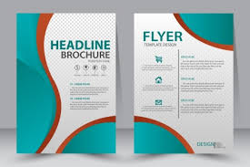 flyer template design with green illustration vectors stock