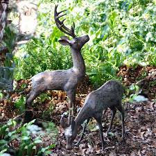 deer garden ornaments statues sculptures with bronze finish