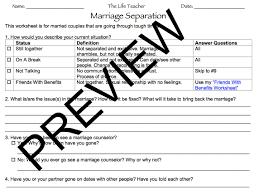 Grief Worksheets Marriage Separation Worksheet