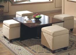 coffee table with 4 storage ottomans 4 storage ottomans black
