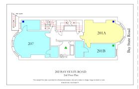 fire escape floor plan 202 bay state road housing boston university
