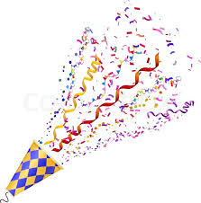 party confetti exploding poppers with confetti isolated on white background