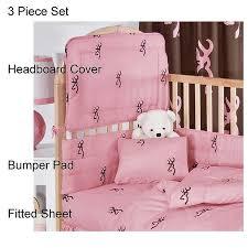 browning buckmark pink 3 piece crib set blanket warehouse