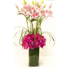 pink lilies pink lilies and hot pink roses in athens tn goins creations