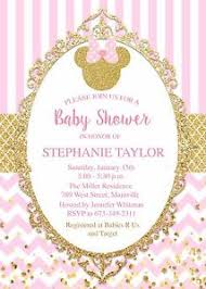 pink and gold baby shower invitations minnie mouse princess gold pink baby shower invitation ebay