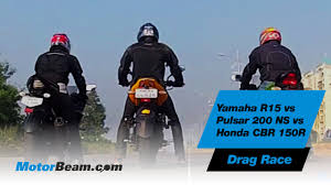 honda cbr150r mileage on road yamaha r15 vs pulsar 200 ns vs honda cbr150r drag race