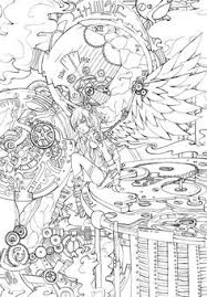 steampunk harley quinn coloring page coloring is for adults too